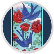 Swallows And Roses Round Beach Towel