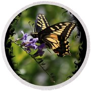 Swallowtail Butterfly 1 With Swirly Frame Round Beach Towel