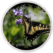 Swallowtail Butterfly 2 With Swirly Framing Round Beach Towel