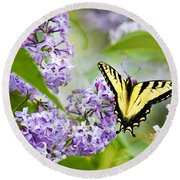 Swallowtail Butterfly On Lilacs Round Beach Towel