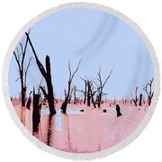 Swamp And Dead Trees Round Beach Towel