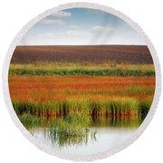 Swamp And Field Landscape Autumn Season Round Beach Towel