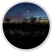Swamp At Dusk With Moon Round Beach Towel