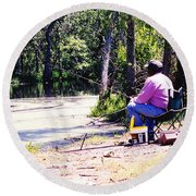 Swamp Fishing Round Beach Towel