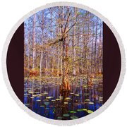 Swamp Tree Round Beach Towel