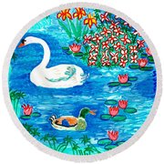Swan And Duck Round Beach Towel