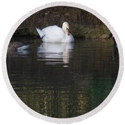 Swan And Geese Round Beach Towel