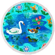 Swan And Two Ducks Round Beach Towel