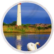 Swan At The Lighthouse Round Beach Towel
