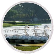 Swan Boat In A Lake Round Beach Towel