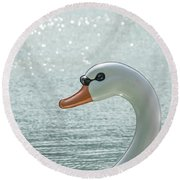 Swan Boat In The Lake Round Beach Towel