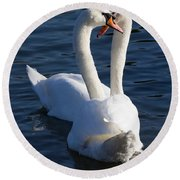Swan Courtship  Round Beach Towel