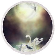 Swan Dreams Round Beach Towel