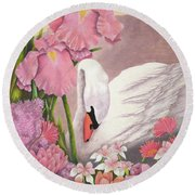 Swan In Pink Round Beach Towel