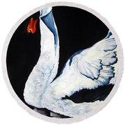 Swan In Shadows Round Beach Towel