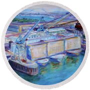 Swan Island Poetry - Large Original Contempory Impressionist Painting Round Beach Towel