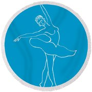 Swan Lake Dance Round Beach Towel