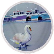 Swan Lake With Pleasure Boats Round Beach Towel