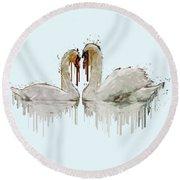 Swan Love Acrylic Painting Round Beach Towel