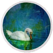 Swan On A Blue And Green Lake Round Beach Towel