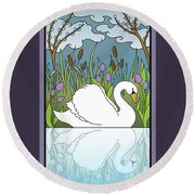 Swan On The River Round Beach Towel