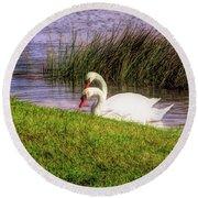 Swan Pair Warm Color Round Beach Towel