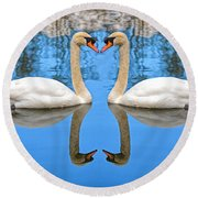 Swan Princess Round Beach Towel
