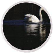Swan Reflected Round Beach Towel