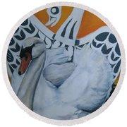 Swan Totem Round Beach Towel