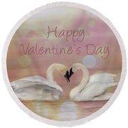 Swan Valentine Round Beach Towel