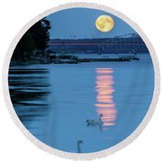 Swans And The Moonrise In Stockholm Round Beach Towel