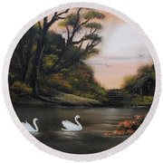 Swans At Dusk.for Sale Round Beach Towel