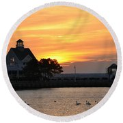 Swans At Sunrise  Round Beach Towel
