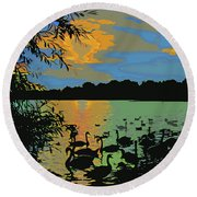 Swans At Sunset Round Beach Towel