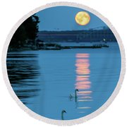 Swans Gliding Into The Moonlight During A Moonrise In Stockholm Round Beach Towel