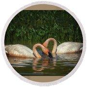Swans In A Pond  Round Beach Towel