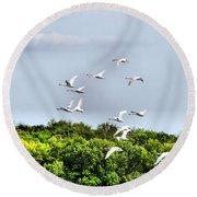 Swans In Flight Round Beach Towel