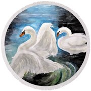 Swans In Love Round Beach Towel