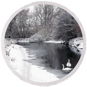 Swans In The Snow Round Beach Towel