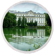 Swans On Austrian Lake Round Beach Towel