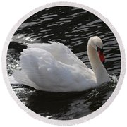 Swans Reflection Round Beach Towel