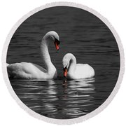 Swans Swimming Isolation Round Beach Towel