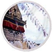 Swayambhunath II Round Beach Towel