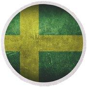 Sweden Distressed Flag Dehner Round Beach Towel