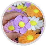 Sweet Floral Array Round Beach Towel