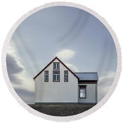 Sweet House Under A White Cloud Round Beach Towel