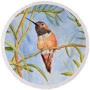 Sweet Hummingbird Round Beach Towel