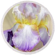 Sweet Iris Pastel Round Beach Towel