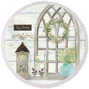 Sweet Life Farmhouse 3 Gothic Window Lantern Floral Shiplap Wood Round Beach Towel
