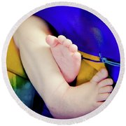Sweet Little Baby Feet Round Beach Towel